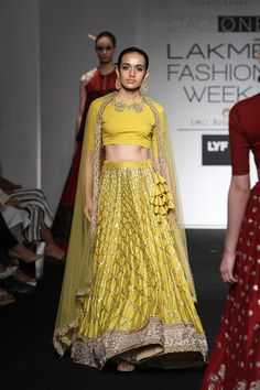 Jayanti Reddy had some classic mustard lehengas perfect for prewedding functions this summer #LFW #LIFW2016  #Frugal2Fab