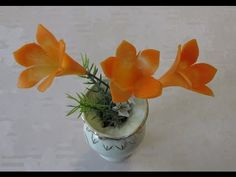 Cách tỉa hoa địa lan-Carving flover from Carrot - YouTube