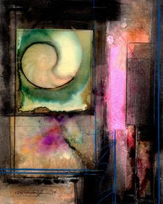"Abstract Painting, Mixed Media Nautilus Shell Spiritual Art, collage, sea shell, ""Nature Voices No.4"" Original  by Kathy Morton Stanion EBSQ"
