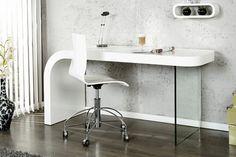 """Innovativer Schreibtisch ONYX hochglanz weiß Bürotisch - Der moderne Design Schreibtisch """"ONYX"""" in innovativer Formgebung und edlem Hochglanz Weiss, erstrahlt durch sein einzigartiges Design. Die gesc"""