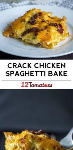 Cheesy Crack Chicken Spaghetti Bake