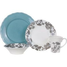 Euro Ceramica Savannah 16 Piece Dinnerware Set, Service for 4 Color: Blue