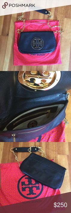 Tory burch black leather clutch Excellent used condition, leather and gold T emblem with two interior pockets, detachable gold tone and leather cross body strap, kept in original dust bag Tory Burch Bags Crossbody Bags