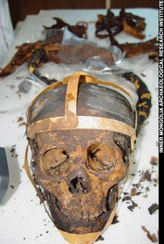 Liao Dynasty female skull with a golden harness.