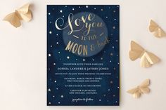 """""""Love you to the Moon and Back"""" - Whimsical & Funny, Rustic Wedding Invitations in Night Sky by Chasity Smith."""