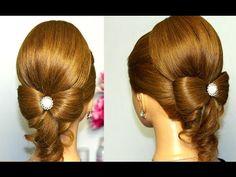 Romantic hairstyles for medium long hair. Прическа на выпускной, вечерняя прическа - YouTube