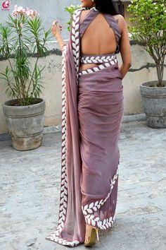 Buy Mauve Pearl Work Silk Chiffon Saree - Women Sarees Online in India Indian Blouse Designs, Blouse Back Neck Designs, Saree Jacket Designs, Silk Saree Blouse Designs, Fancy Blouse Designs, Blouse Designs Catalogue, Sari Design, Designer Kurtis, Chiffon Saree