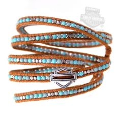 Harley-Davidson Womens Turquoise Beads w/ B&S Brown Leather Wrist Wrap by LODIS #HarleyDavidson #Wrap