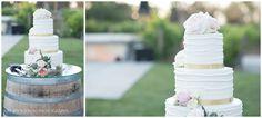 wedding cake on a wine barrel