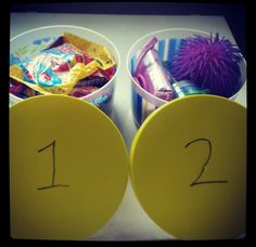 Potty training idea! Container #1 is treats for when they do #1 and container #2 is toys when they does #2 in the potty:)