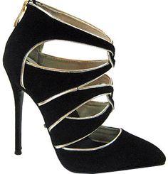 Women's Highest Heel Fierce-41 Stiletto - Black Microsuede/Metallic PU Strappy Shoes