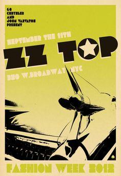 """poster design 24 X 35  """"ZZ Top"""" for John Varvatos  © Scarlet Rowe Image & Design #zztop #johnvarvatos #scarletrowe"""