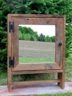 brown barnwood medicine overjohn cabinet by bathroom