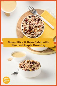 This earthy, tasty salad is filling, easy to make and stores well. The brown rice, apples and beans offer a healthy dose of fibre that is sure to keep you satisfied. Bean Recipes, Rice Recipes, Salad Recipes, Cranberry Recipes, Apple Recipes, Mustard Recipe, Mustard Greens, Bean Salad, Brown Rice