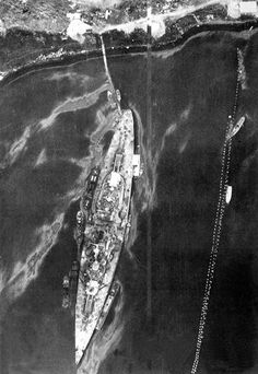 15 in battleship Tirpitz leaking oil in Altafjord, Norway after serious damage resulting from Operation Source, the famous British midget submarine attack, September 1943 - a double Victoria Cross winning operation. Go Navy, Royal Navy, Bismarck Ship, Bismarck Battleship, Midget Submarine, Norway Fjords, Heavy Cruiser, Naval History, History Online