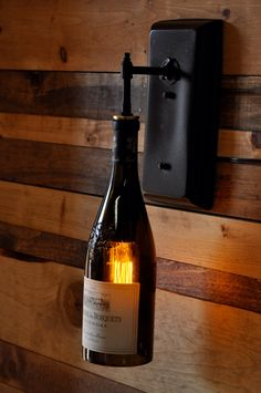 Recycled Wine Bottle Wall Sconce - Rustic Lighting for Wine .- Recycled Wine Bottle Wall Sconce – Rustic Lighting for Wine Cellar, Bar, Farmhouse Kitchen – Customizable Bottles and Finish - Wine Bottle Wall, Wine Bottle Crafts, Diy Bottle, Cellar Design, Recycled Wine Bottles, Rustic Wall Sconces, Wine Case, Vintage Wine, Vintage Style