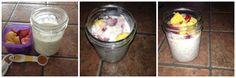 1 Purple with Strawberries and Nectarine 1 Teaspoon of Honey 1 Yellow- Steel Oats Yogurt- Red Container Milk Strawberries, Yogurt, Honey, Milk, Container, Steel, Yellow, Purple, Fitness