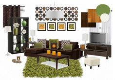 Living room inspiration board- green, brown, orangey brown, cream white