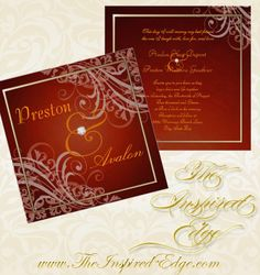 Exquisite Baroque Orange Scroll Invitations by TheInspiredEdge.com
