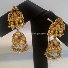 Gold Antique Pearl Jhumka, Gold Pearl Antique Jhumka Designs, 22K Gold Antique Jhumka with Pearls.