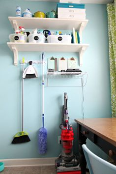I love the idea of having cleaning supplies for different areas of the house in their own caddies.