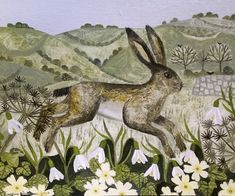 pagewoman: Hare on hillside by Vanessa Bowman (An Early Morning Walk) Graphic Illustration, Graphic Art, Contemporary Decorative Art, Bunny Art, 1920s Art Deco, Paintings I Love, Naive Art, Buy Prints, Art Pages