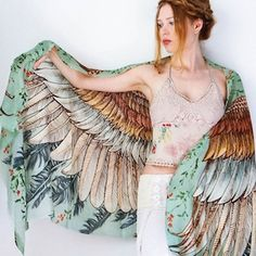 Hippie Clothes Burning Man Clothing Bird Wings Wedding Gift Owl Scarf Cover Up Wing Scarf Gift For Her Owl Clothing Wife Gift Feather Scarf, Feather Print, Feather Pattern, Owl Wings, Butterfly Wings, Owl Scarf, Outfit Ideas, Green Wing, Bohemian Clothing