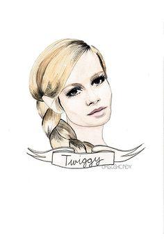 Twiggy watercolour portrait PRINT Lesley Hornby by ohgoshCindy