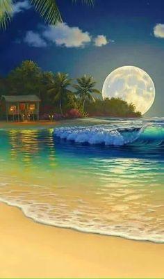 Giclee Art oil painting Print on canvas Al Hogue Hawaiian Seascape Moon night I Art Plage, Hawaii Landscape, Beautiful Moon, Tropical Art, Tropical Prints, Beach Art, Painting Techniques, Beautiful Landscapes, Strand
