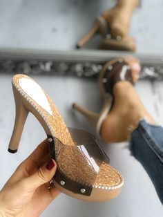 eb9d8215dd759 Shop Rivet Embellished Platform Transparent Heel Sandals – Discover sexy  women fashion at Boutiquefeel