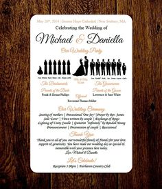 DIY 12 Party Wedding Program Silhouette Template LONG DRESSES With FLOWER GIRL