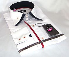 Brand New Mens Formal, White with Blue & Red Smart Double Collar Slim Fit Shirt
