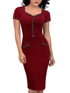 FORTRIC Women Sweetheart Neck Button Decor Wear to Work Casual Pencil Dress > Find out more details by clicking the image : Evening dresses