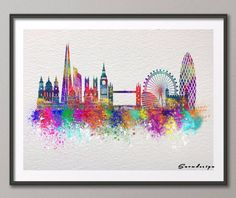 Find More Painting & Calligraphy Information about London skyline watercolor canvas painting wall art poster print Pictures for living room Home Decor wall hanging free shipping,High Quality gift mobile,China gift figure Suppliers, Cheap posters men from Dottie Design World on Aliexpress.com