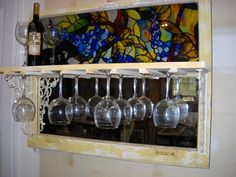 Window Wine and Glass Rack by JuxtaposeArt on Etsy, $175.00