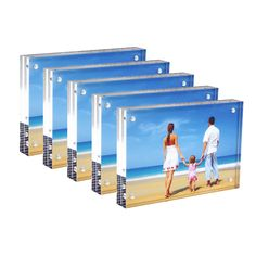 """Set of 5 Clear Acrylic Picture Frames 5x7"""", Double Sided Magnetic Photo Frame 20% Thicker Blcoks, Frameless Desktop Display with Gift Box Package (0.95inch, 5 Pack)"""