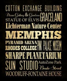Memphis, Tennessee, Typography Art  Canvas / Bus  / Transit / Subway Roll Art 20X24 - Memphis' Attractions Wall Art Decoration -  LHA-188. $164.95, via Etsy.