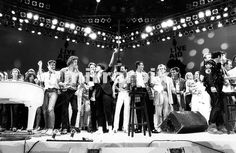 July 13th 1985 The Live Aid concert for the starving in Africa, the world's biggest rock festival held in London and Philadelphia, raises 30 million pound Pictured is the finale of the show with George Michael Bob Geldof Bono Freddie Mercury Andrew Ridgley and Howard Jones The concert took place at Wembley Stadium July 1985