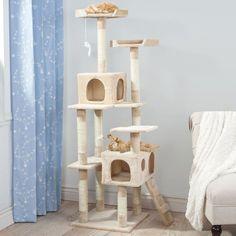 Skyscraper Sleep & Play Beige 5.5' Cat Tree http://www.kittydevil.com/shop/