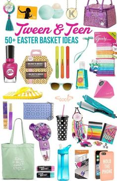 50 GREAT ideas for Easter Basket fillers for tween and teen girls. Seriously just made my Easter shopping SO much easier!Over 50 GREAT ideas for Easter Basket fillers for tween and teen girls. Seriously just made my Easter shopping SO much easier! Tween Gifts, Teen Girl Gifts, Diy Gifts, Best Gifts For Tweens, Easter Crafts, Easter Ideas, Tween Easter Basket Ideas, Gift Baskets For Kids, Girl Gift Baskets