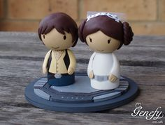 Cute STAR WARS Wedding Cake Topper - Princess Leia and Han Solo