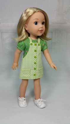 American Made to Fit 14 1/2 Inch Girl Dolls, a Wellie Wisher Jumper and Print Knit Tee