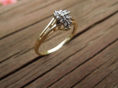 Vintage Gold Ring. 10 Karat Gold with 2 Small Diamonds, Stamped. Size 7 Ask a Question    $80.00 USD   Only 1 available