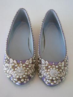 French Lavender Bridal Ballet Flats Wedding Shoes - Any Size - Pick your own shoe color and crystal color. $195.00, via Etsy.