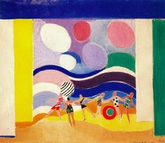 Sonia Delaunay, Summer beach, Gouache on paper, 39,5 x 46, collection Charles Delaunay, Pari