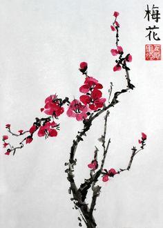 Sumi-e blossom Sumi E Painting, Korean Painting, Japanese Painting, Chinese Painting, Toile Photo, Blossom Tattoo, Korean Art, Asian Art, Watercolor Art