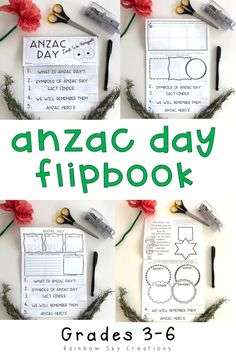 Use this ANZAC Day flipbook activity for kids to teach them about what it means in Australia & New Zealand. This printable is a fun way for students to learn about our ANZAC symbols, ceremonies, hero's and the significance of the poppy. It is a great alternative to crafts or worksheets. Use this template or flipchart to complement lessons about remembrance. Click the link to see full more details {Year 3, Year 4, Year 5, Year 6, Grade 3, Grade 4, Grade 5, Grade 6} #rainbowskycreations