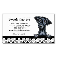 Black Lab business cards ~ perfect for dogsitting and dog walking businesses ~ completely customizable text ~ other breeds/designs also available ~ http://www.zazzle.com/doggie_daycare_dog_business_black_lab_business_card-240955463939422996?rf=238295306376314296