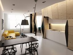 """Vlad Mishin is the Russian designer behind a very creative project called """"Transformer Appartments"""" : a functionnal and modular appartment, wooden, with a concept of 3D rendering by deformed furnitures. Original closets, kitchen and bookcase to discover in the next part of the article."""
