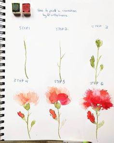 ️ Sharing a little step by step for you today since lots of you have been requesting tutorials! Here's how to paint a carnation the way I